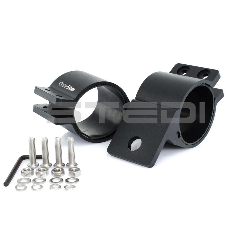 49mm to 54mm LED HID Bullbar Mounting Brackets UHF Black