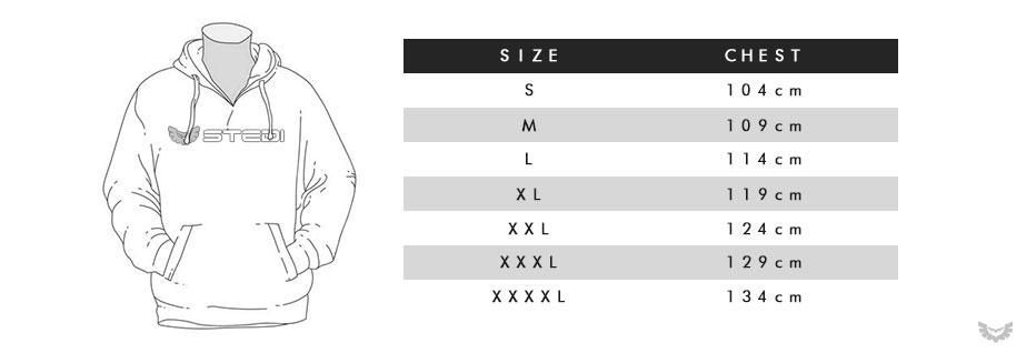 STEDI Sleeve Hoodie Size Chart