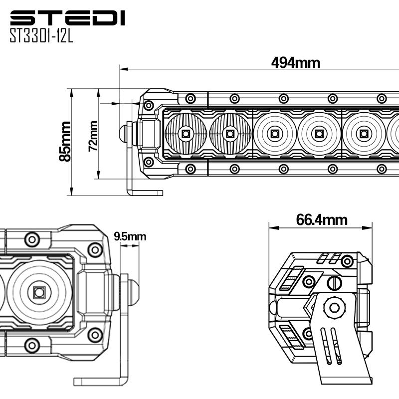 st3301 20 inch 12 led driving light bar
