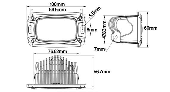 STEDI 10w Mini Flush LED Work Light Dimensions
