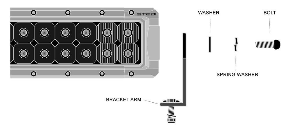 STEDI LED Light Bar Side Bracket Diagram