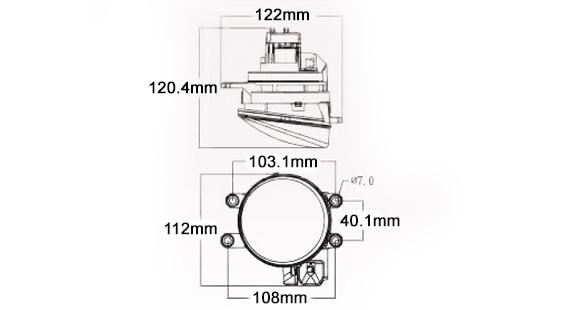 STEDI Type B LED Fog Light Dimensions