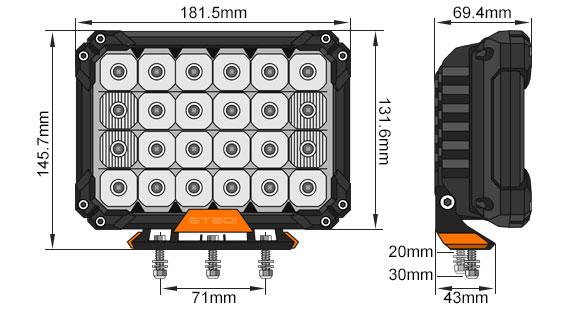 Quad Pro LED Spot Lights Dimensional Drawing