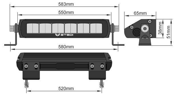 ST1K E-Mark LED Light Bar 21.5 Inch Dimensions