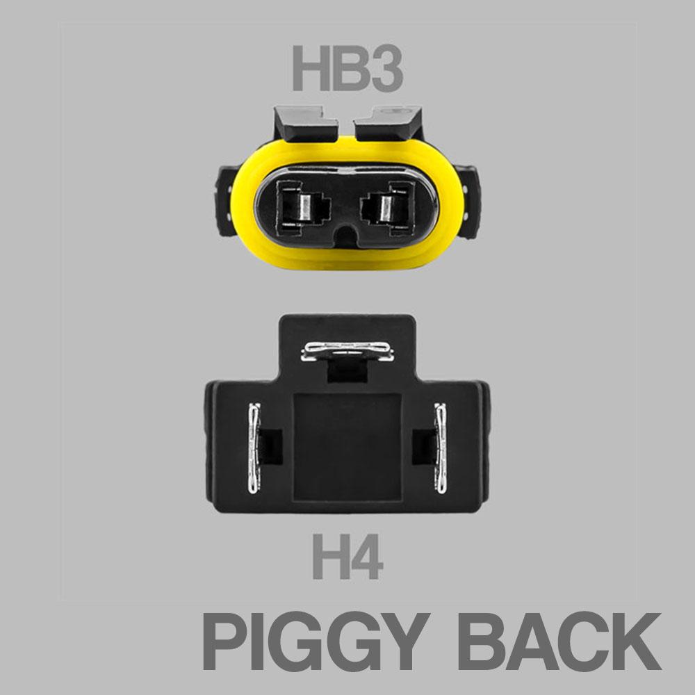 Included HB3 + H4 Piggy Back Adaptor