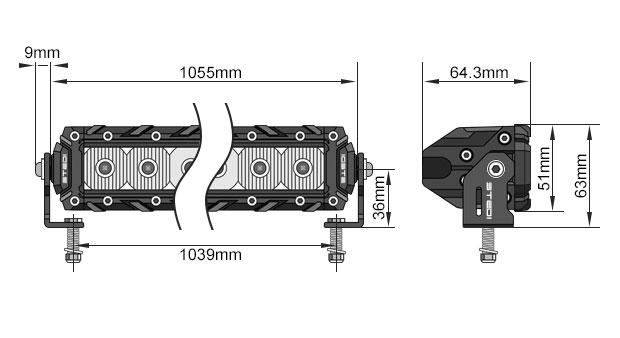 STEDI ST3K 41.5 Inch 40 LED Light Bar Dimensions