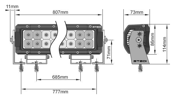 STEDI ST4K 32 Inch 60 LED LED Light Bar Dimensions